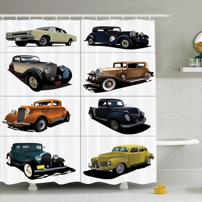 Vintage Collage of Fifties Car Shower Curtain Set Size: 70 H x 69 W