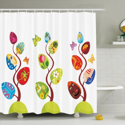 Lizbeth Magic Tree Easter Theme Shower Curtain Set Size: 75 H x 69 W