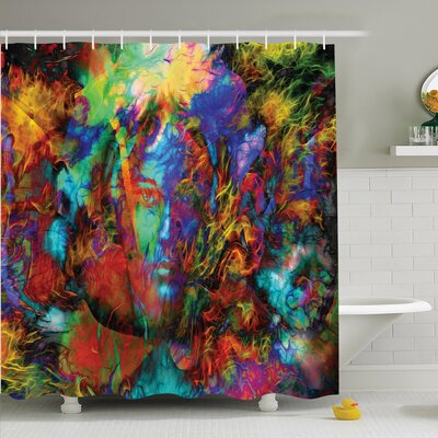 Nathanael Face Spirit Shower Curtain Set Size: 70 H x 69 W