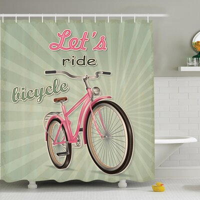 Vintage Retro Pop Art Bike Shower Curtain Set Size: 75 H x 69 W
