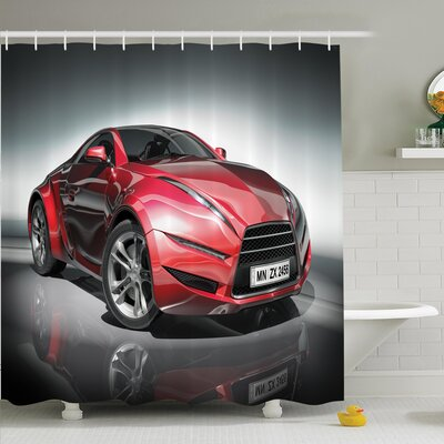 Ervin Sports Racing Fast Shower Curtain Set Size: 75 H x 69 W