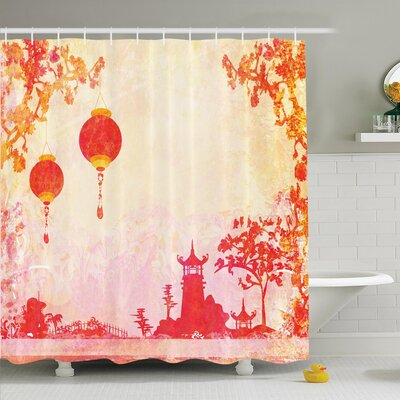 Jody Chinese Lanterns Temple Shower Curtain Set Size: 75 H x 69 W