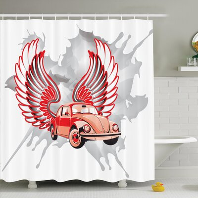 Vintage Car with Wings Shower Curtain Set Size: 70 H x 69 W