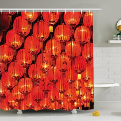 Rilo Chinese Lantern Festival Shower Curtain Set Size: 84 H x 69 W