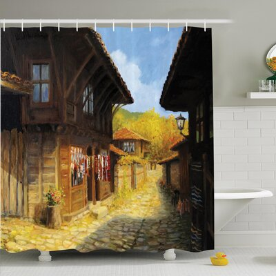 Rustic Wooden Houses on Fall Shower Curtain Set Size: 75 H x 69 W