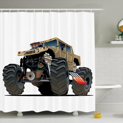 Myaa Monster Truck Racing Shower Curtain Set Size: 70 H x 69 W