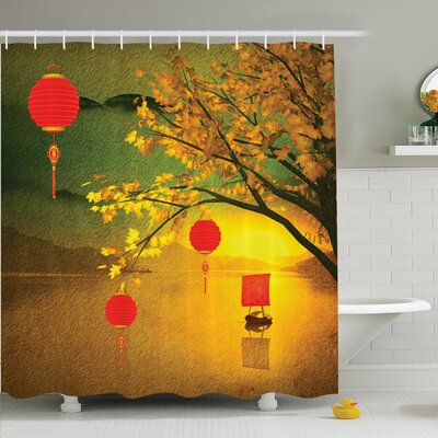 Jody Chinese Lanterns Festive Shower Curtain Set Size: 75 H x 69 W