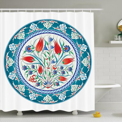 Floral Turkish Tulip Art Shower Curtain Set Size: 70 H x 69 W