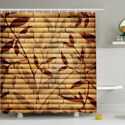 Bamboo Leaves Bohemian Shower Curtain Set Size: 70 H x 69 W