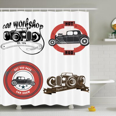 Vintage Retro Cars Pop Art Shower Curtain Set Size: 75 H x 69 W