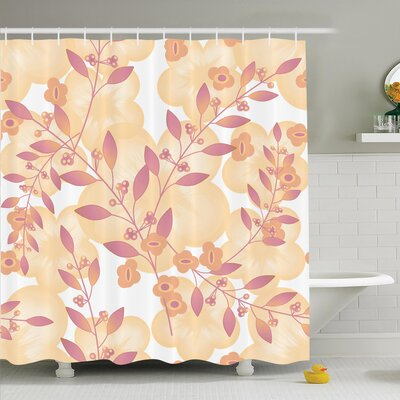 Floral Art Berry Pastel Shower Curtain Set Size: 70 H x 69 W