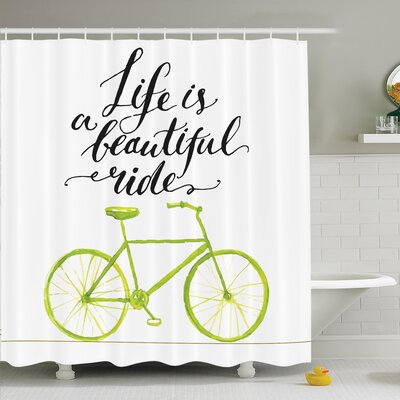 Juergen Motivating Quote Shower Curtain Set Size: 70 H x 69 W