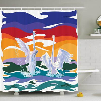 Animal Happy Swan Couple Love Shower Curtain Set Size: 75 H x 69 W