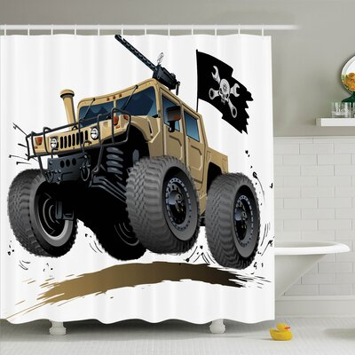 Myaa Off Road Safari Truck Shower Curtain Set Size: 75 H x 69 W