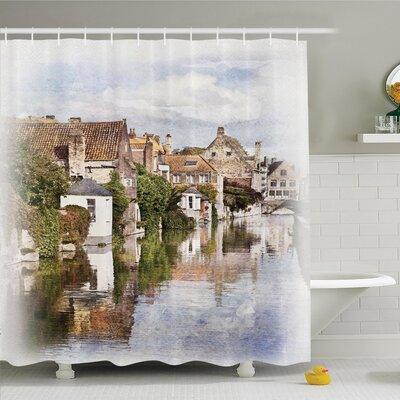 Rustic Decor Brugge Canal View Shower Curtain Set Size: 70 H x 69 W