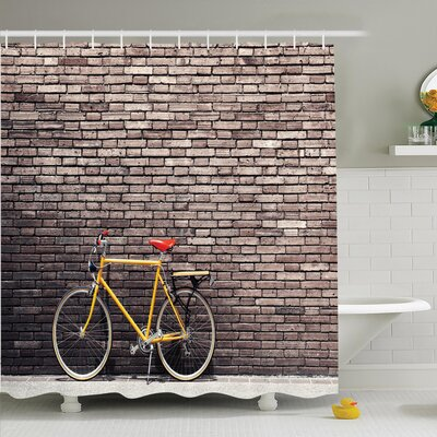 Vintage Retro Bicycle on Wall Shower Curtain Set Size: 70 H x 69 W