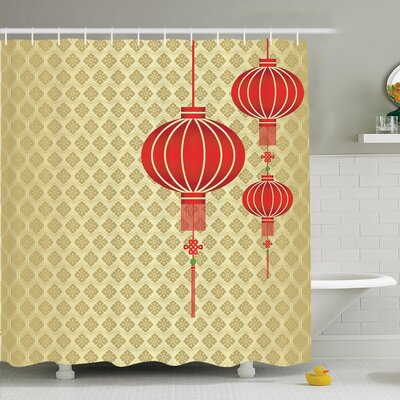 Chinese Lantern Baroque Artsy Shower Curtain Set Size: 84 H x 69 W