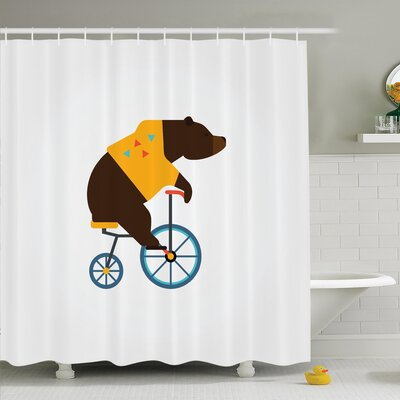 Ivor Bear Bicycle Circus Shower Curtain Set Size: 70 H x 69 W