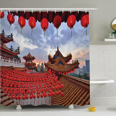 Jody Chinese New Year Festive Shower Curtain Set Size: 84 H x 69 W