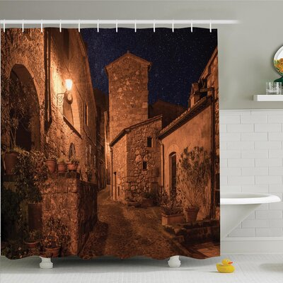 Rustic Medieval Town Street Shower Curtain Set Size: 75 H x 69 W
