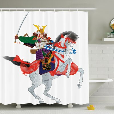 Rick Decor Samurai Horse Shower Curtain Set Size: 84 H x 69 W