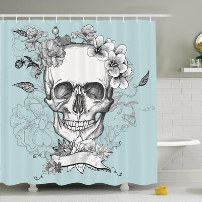 Nathanael Skull and Flowers Shower Curtain Set Size: 70 H x 69 W