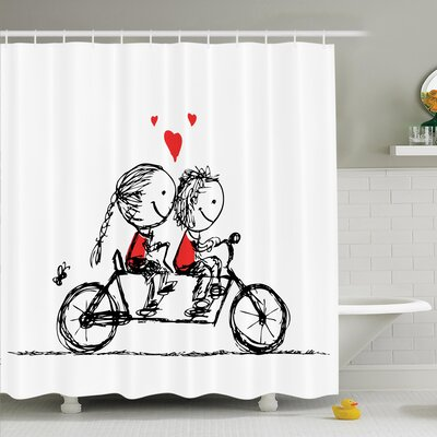 Love Couple Cycling Together Shower Curtain Set Size: 75 H x 69 W