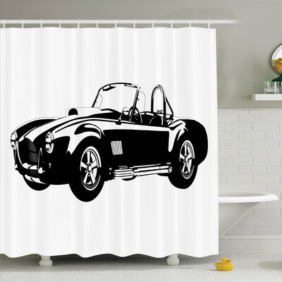 Vintage Classic Car Silhouette Shower Curtain Set Size: 70 H x 69 W