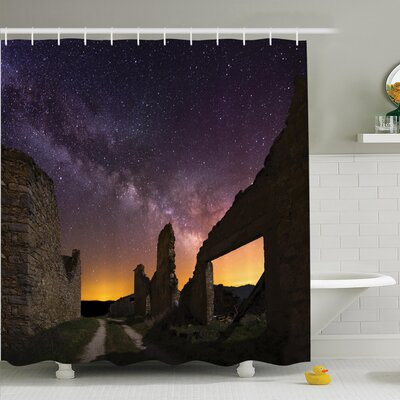 Antique Decor Ruins at Night Shower Curtain Set Size: 70 H x 69 W