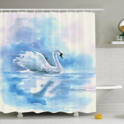 Animal Swan in Hazy River Art Shower Curtain Set Size: 70