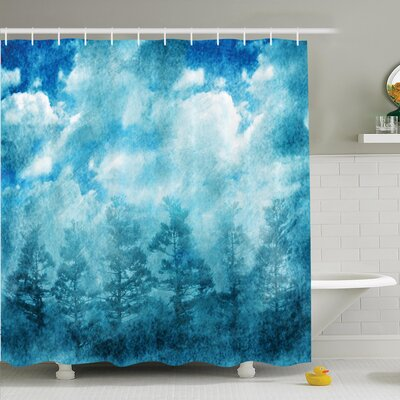 Grunge Sky Foggy Night Shower Curtain Set Size: 70 H x 69 W