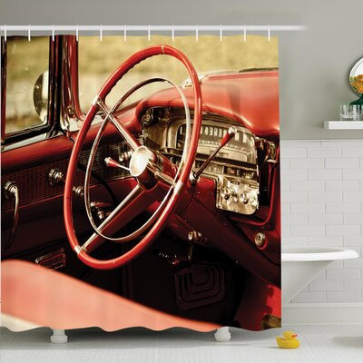 Vintage Antique Classic Car Shower Curtain Set Size: 70 H x 69 W