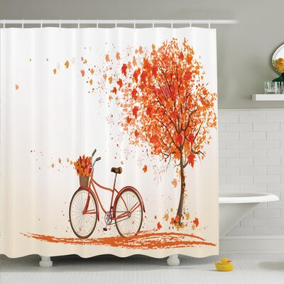 Fall Decor Bicycle Orange Tree Shower Curtain Set Size: 75 H x 69 W