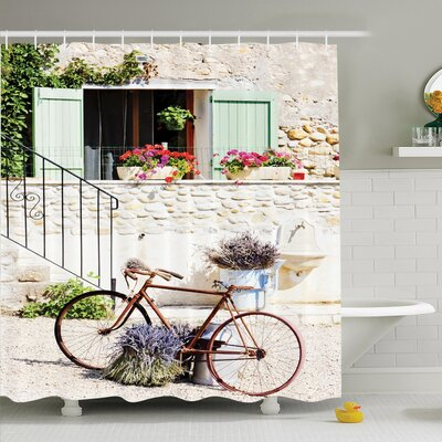 Rustic Bike Flower Countryside Shower Curtain Set Size: 84 H x 69 W