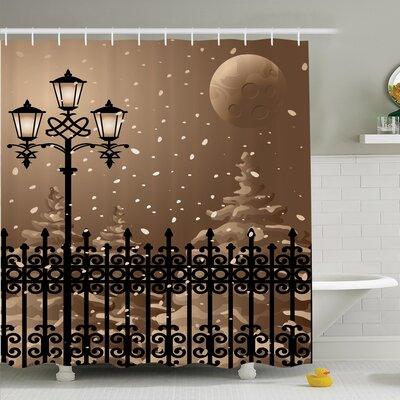 Winter Snowy Moon Evening Shower Curtain Set Size: 70