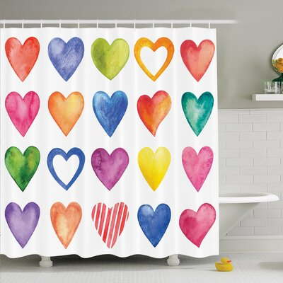 Watercolor Hearts Romance Shower Curtain Set Size: 84 H x 69 W
