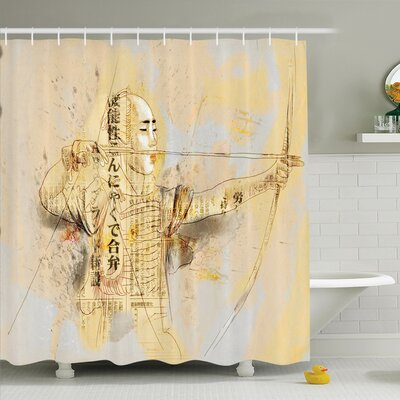 Rick Decor Archer Samurai Shower Curtain Set Size: 84 H x 69 W