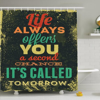 Juergen Quote Grunge Art Shower Curtain Set Size: 70 H x 69 W