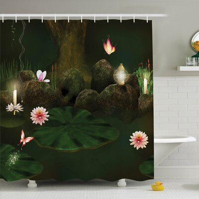 Alia Mystic Forest with Candle Shower Curtain Set Size: 84 H x 69 W