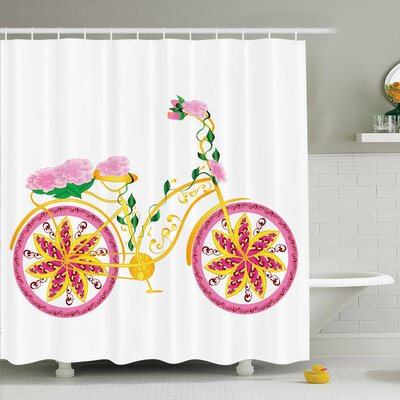 Lizbeth Bike Floral Ornament Shower Curtain Set Size: 75 H x 69 W