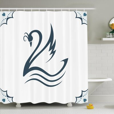 Stylized Swan with Curves Shower Curtain Set Size: 70 H x 69 W