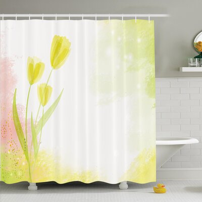 Floral Tulip Watercolor Shower Curtain Set Size: 70 H x 69 W