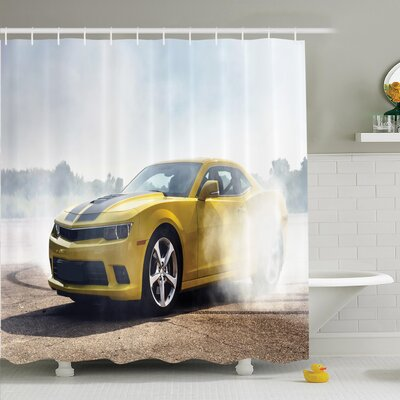 Ervin Decor Racer Drifting Men Shower Curtain Set Size: 75
