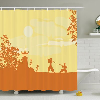 Rick Decor Samurai Temple Shower Curtain Set Size: 70 H x 69 W
