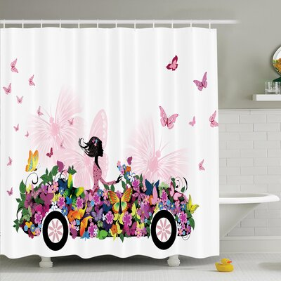 Floral Car Butterflies Shower Curtain Set Size: 84 H x 69 W