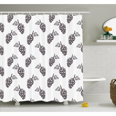 Grapes Hand Drawn Sketchy Fruits Summer Ripe Simplistic Farmers Graphic Artwork Shower Curtain Set Size: 84 H x 69 W