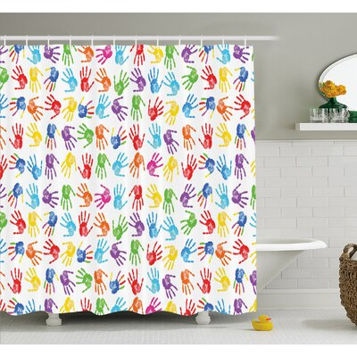 Human Handprint Kids Watercolor Paint Effect Open Palms Collage Art Work Print Shower Curtain Set Size: 84 H x 69 W