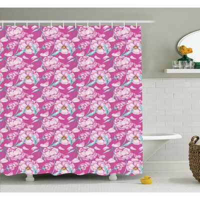 Peony Flowers Blossom in Vibrant Color Watercolor Japanese Feminine Bouquet Art Shower Curtain Set Size: 70 H x 69 W