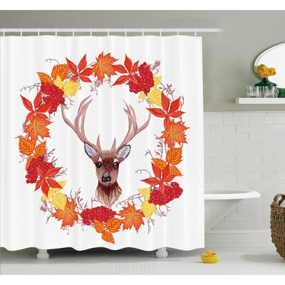 Fall Reindeer Head in Rounded Wreath Frame Made with Aesthetic Fall Leaves Shower Curtain Set Size: 75 H x 69 W