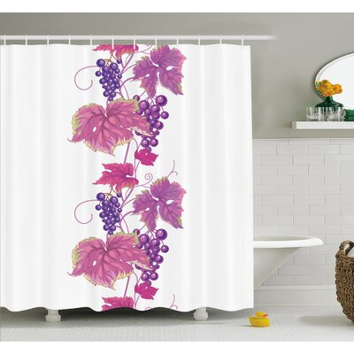 Grapes Vibrant Twiggy Branch with Berries Leaves Plants Trees Wild Habitat Shower Curtain Set Size: 84 H x 69 W